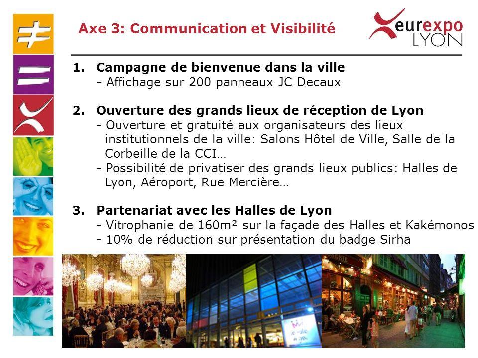 1.Campagne de bienvenue dans la ville - Affichage sur 200 panneaux JC Decaux 2.Ouverture des grands lieux de réception de Lyon - Ouverture et gratuité