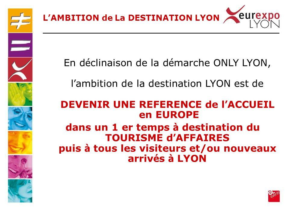 En d é clinaison de la d é marche ONLY LYON, l ambition de la destination LYON est de DEVENIR UNE REFERENCE de l ACCUEIL en EUROPE dans un 1 er temps