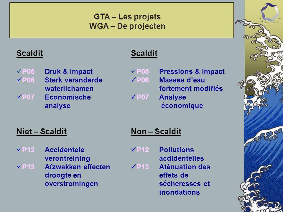 GTA – Les projets WGA – De projecten Scaldit P05Druk & Impact P06Sterk veranderde waterlichamen P07 Economische analyse Niet – Scaldit P12Accidentele