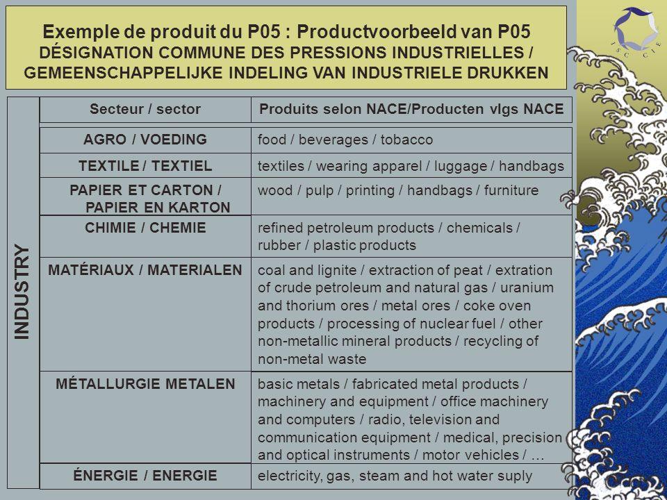 MATÉRIAUX / MATERIALEN MÉTALLURGIE METALEN ÉNERGIE / ENERGIE Exemple de produit du P05 : Productvoorbeeld van P05 DÉSIGNATION COMMUNE DES PRESSIONS IN