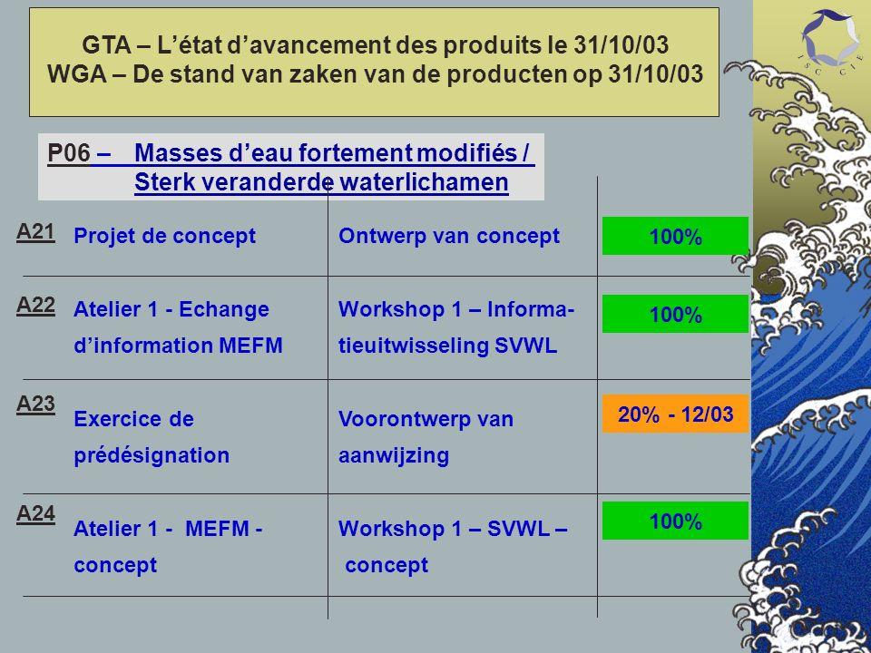 P06 – Masses deau fortement modifiés / Sterk veranderde waterlichamen Projet de concept Atelier 1 - Echange dinformation MEFM Exercice de prédésignation Atelier 1 - MEFM - concept Ontwerp van concept Workshop 1 – Informa- tieuitwisseling SVWL Voorontwerp van aanwijzing Workshop 1 – SVWL – concept A21 A22 A23 A24 20% - 12/03 100% GTA – Létat davancement des produits le 31/10/03 WGA – De stand van zaken van de producten op 31/10/03