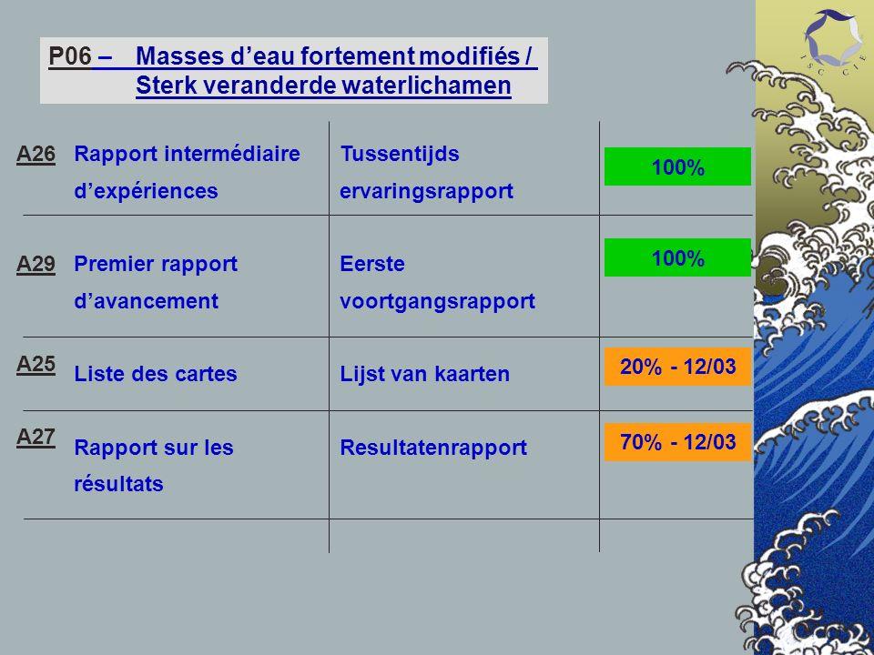 P06 – Masses deau fortement modifiés / Sterk veranderde waterlichamen Rapport intermédiaire dexpériences Premier rapport davancement Liste des cartes
