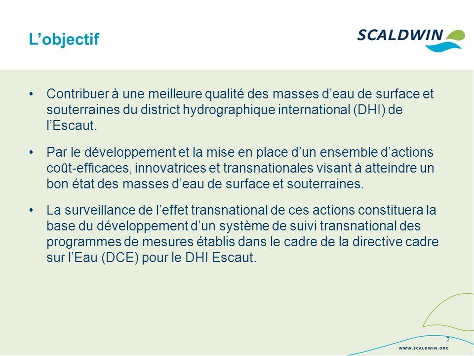 Lobjectif Contribuer à une meilleure qualité des masses deau de surface et souterraines du district hydrographique international (DHI) de lEscaut.