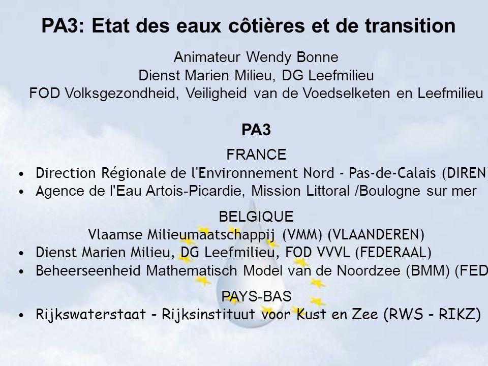 Animateur Wendy Bonne Dienst Marien Milieu, DG Leefmilieu FOD Volksgezondheid, Veiligheid van de Voedselketen en Leefmilieu PA3 FRANCE Direction Régionale de l Environnement Nord - Pas-de-Calais (DIREN) A gence de l Eau Artois-Picardie, Mission Littoral /Boulogne sur mer BELGIQUE Vlaamse Milieumaatschappij (VMM) (VLAANDEREN) Dienst Marien Milieu, DG Leefmilieu, FOD VVVL (FEDERAAL) Beheerseenheid Mathematisch Model van de Noordzee (BMM) (FED) PAYS-BAS R ijkswaterstaat - Rijksinstituut voor Kust en Zee (RWS - RIKZ) PA3: Etat des eaux côtières et de transition