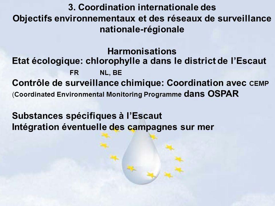 3. Coordination internationale des Objectifs environnementaux et des réseaux de surveillance nationale-régionale Harmonisations Etat écologique: chlor