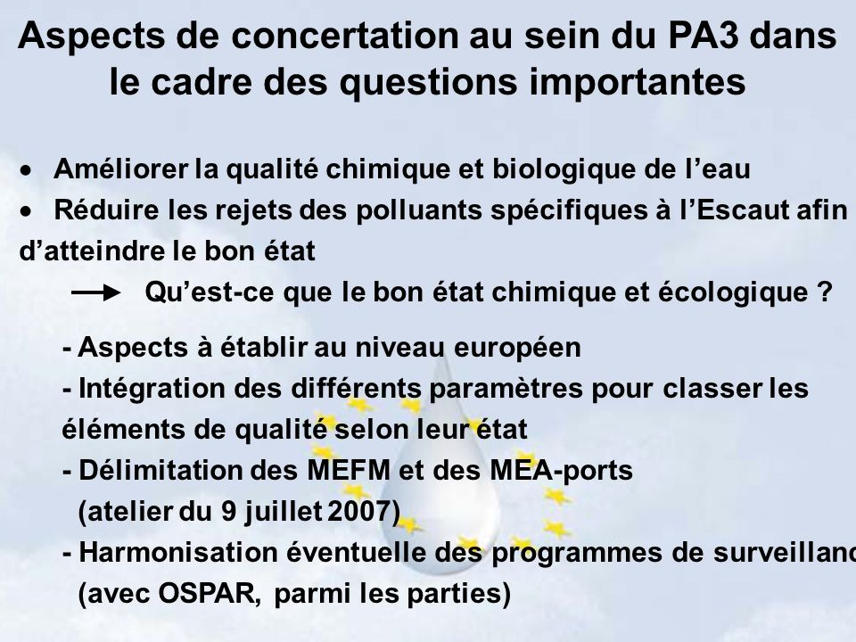 Aspects de concertation au sein du PA3 dans le cadre des questions importantes Améliorer la qualité chimique et biologique de leau Réduire les rejets des polluants spécifiques à lEscaut afin datteindre le bon état Quest-ce que le bon état chimique et écologique .