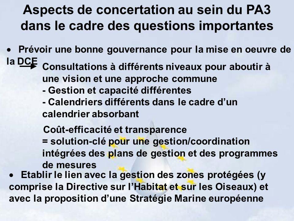 Aspects de concertation au sein du PA3 dans le cadre des questions importantes Prévoir une bonne gouvernance pour la mise en oeuvre de la DCE Consultations à différents niveaux pour aboutir à une vision et une approche commune - Gestion et capacité différentes - Calendriers différents dans le cadre dun calendrier absorbant Coût-efficacité et transparence = solution-clé pour une gestion/coordination intégrées des plans de gestion et des programmes de mesures Etablir le lien avec la gestion des zones protégées (y comprise la Directive sur lHabitat et sur les Oiseaux) et avec la proposition dune Stratégie Marine européenne