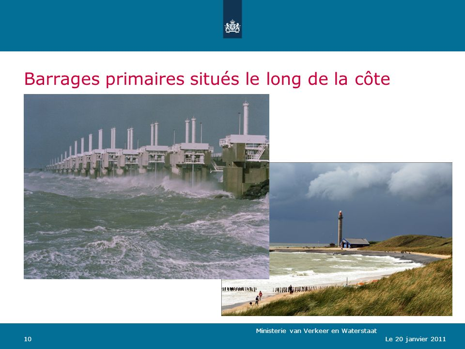 Ministerie van Verkeer en Waterstaat 10Le 20 janvier 2011 Barrages primaires situés le long de la côte