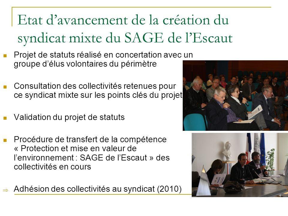 Etat davancement de la création du syndicat mixte du SAGE de lEscaut Projet de statuts réalisé en concertation avec un groupe délus volontaires du pér