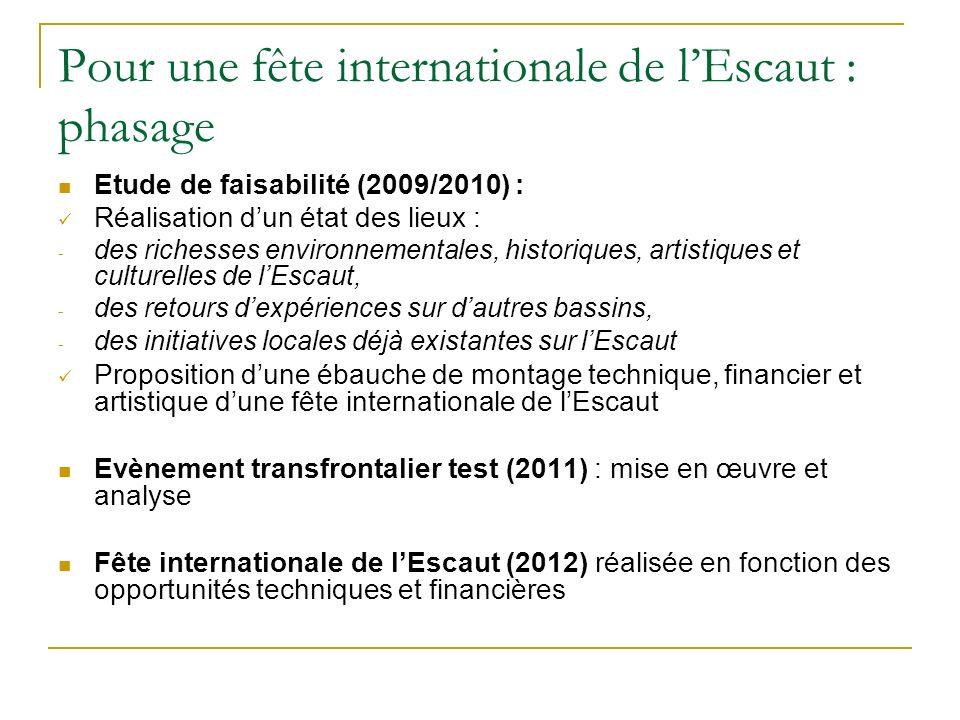 Pour une fête internationale de lEscaut : phasage Etude de faisabilité (2009/2010) : Réalisation dun état des lieux : - des richesses environnementale
