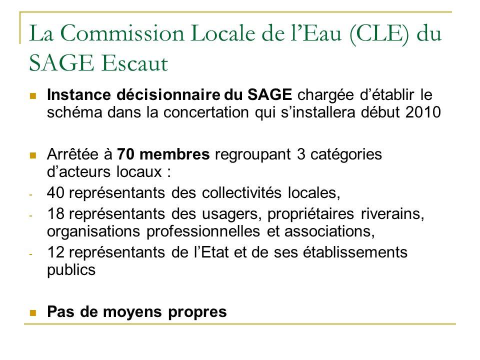 La Commission Locale de lEau (CLE) du SAGE Escaut Instance décisionnaire du SAGE chargée détablir le schéma dans la concertation qui sinstallera début