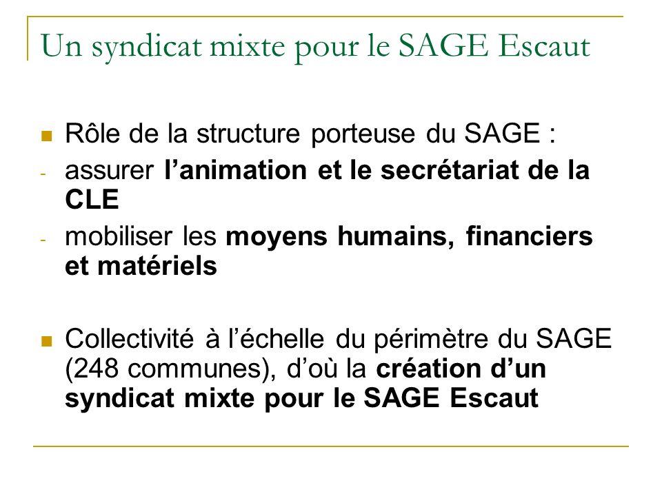 Un syndicat mixte pour le SAGE Escaut Rôle de la structure porteuse du SAGE : - assurer lanimation et le secrétariat de la CLE - mobiliser les moyens