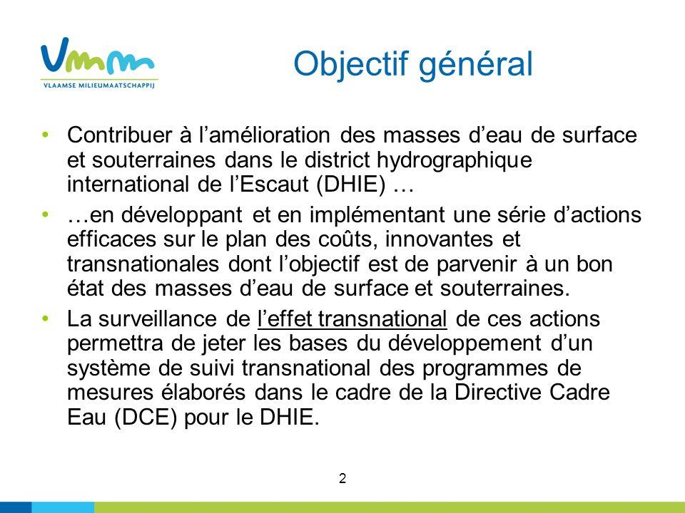 2 Objectif général Contribuer à lamélioration des masses deau de surface et souterraines dans le district hydrographique international de lEscaut (DHI