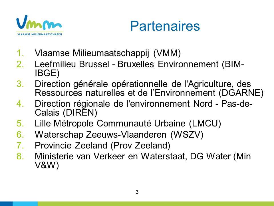 3 Partenaires 1.Vlaamse Milieumaatschappij (VMM) 2.Leefmilieu Brussel - Bruxelles Environnement (BIM- IBGE) 3.Direction générale opérationnelle de l'A