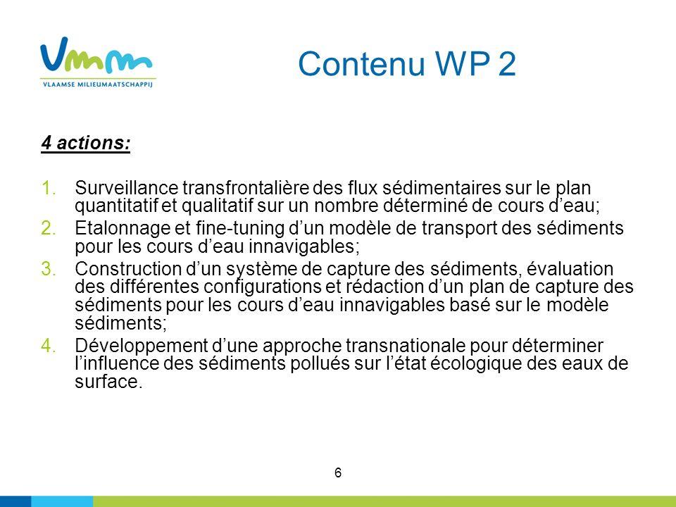 6 Contenu WP 2 4 actions: 1.Surveillance transfrontalière des flux sédimentaires sur le plan quantitatif et qualitatif sur un nombre déterminé de cour