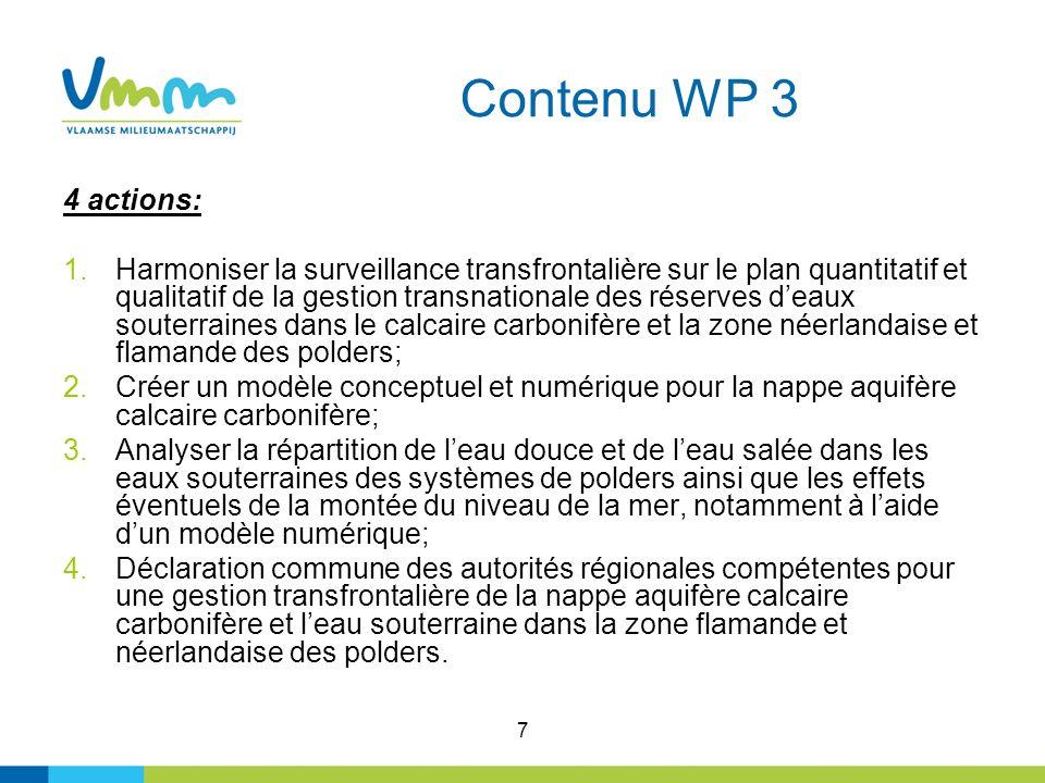 7 Contenu WP 3 4 actions: 1.Harmoniser la surveillance transfrontalière sur le plan quantitatif et qualitatif de la gestion transnationale des réserve