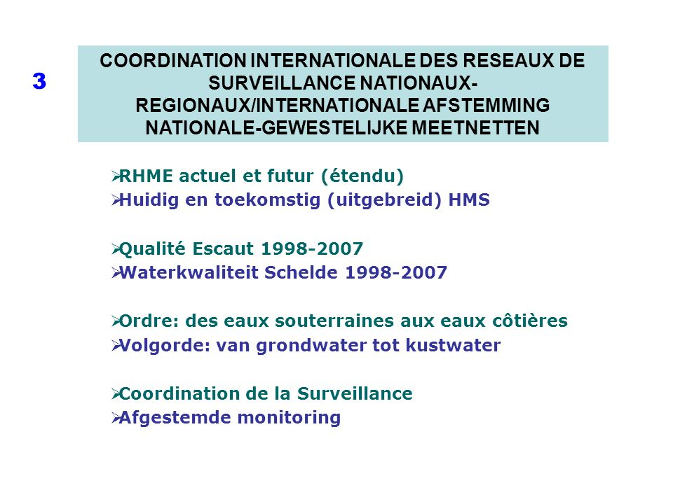 COORDINATION INTERNATIONALE DES RESEAUX DE SURVEILLANCE NATIONAUX- REGIONAUX/INTERNATIONALE AFSTEMMING NATIONALE-GEWESTELIJKE MEETNETTEN 3 RHME actuel