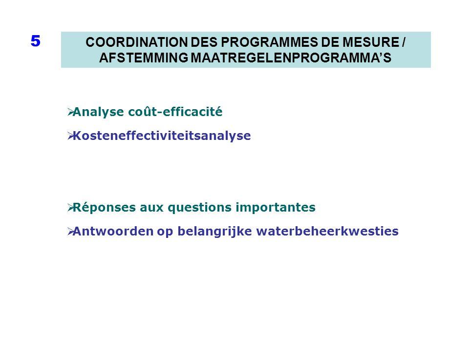 COORDINATION DES PROGRAMMES DE MESURE / AFSTEMMING MAATREGELENPROGRAMMAS 5 Analyse coût-efficacité Kosteneffectiviteitsanalyse Réponses aux questions importantes Antwoorden op belangrijke waterbeheerkwesties