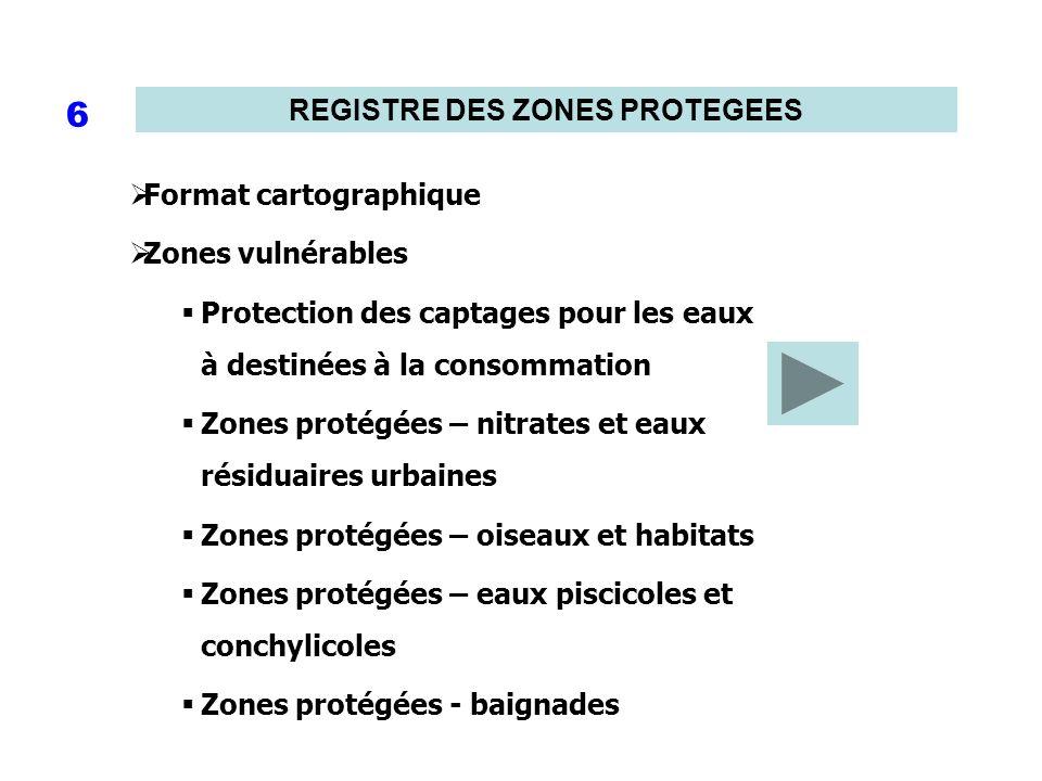 REGISTRE DES ZONES PROTEGEES 6 Format cartographique Zones vulnérables Protection des captages pour les eaux à destinées à la consommation Zones proté