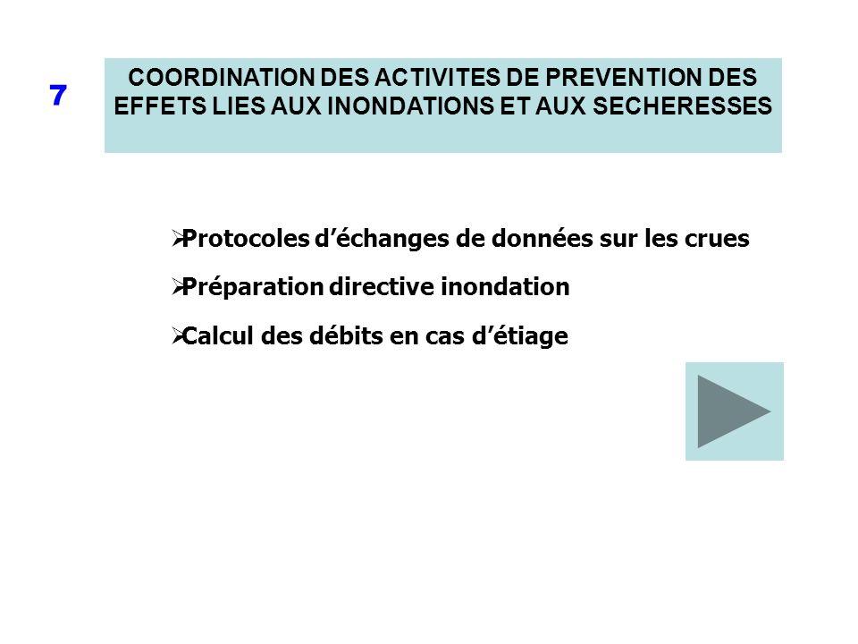 COORDINATION DES ACTIVITES DE PREVENTION DES EFFETS LIES AUX INONDATIONS ET AUX SECHERESSES 7 Protocoles déchanges de données sur les crues Préparatio