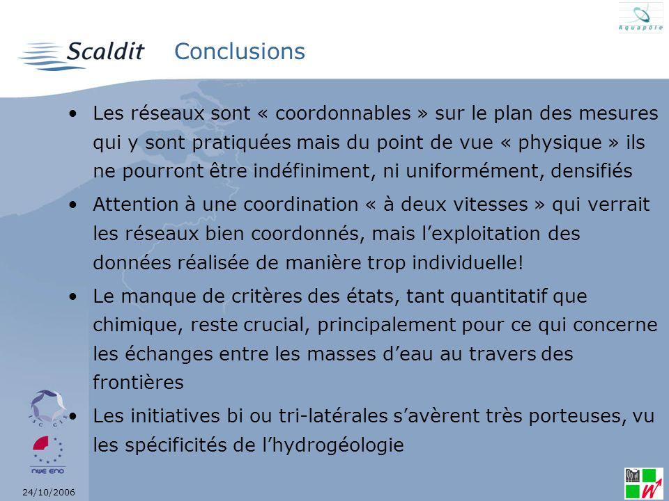 24/10/2006 Conclusions Les réseaux sont « coordonnables » sur le plan des mesures qui y sont pratiquées mais du point de vue « physique » ils ne pourr