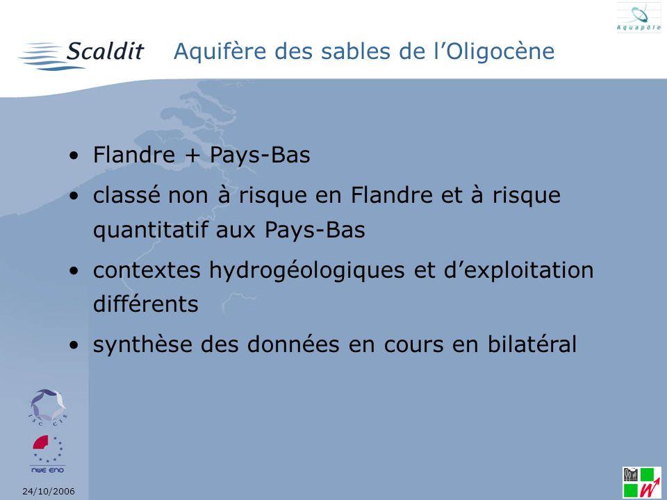24/10/2006 Aquifère des sables du Bruxellien Bruxelles + Flandre + Wallonie classé à risque chimique nitrates chez les 3 partenaires existence de zones protégées (zones vulnérables) synthèse des données en cours en trilatéral