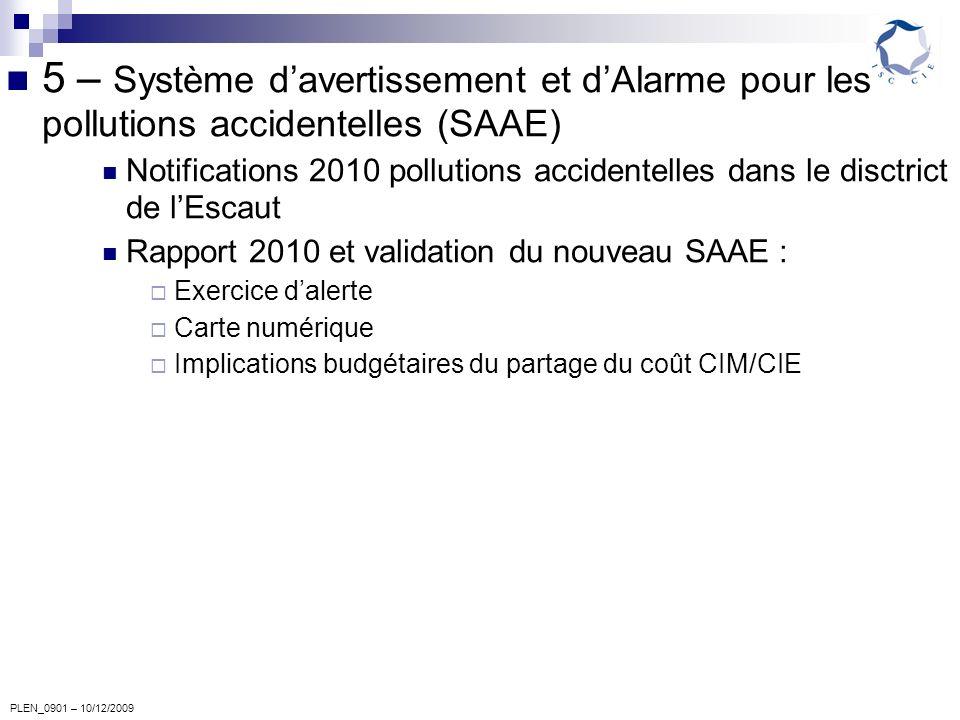 PLEN_0901 – 10/12/2009 5 – Système davertissement et dAlarme pour les pollutions accidentelles (SAAE) Notifications 2010 pollutions accidentelles dans