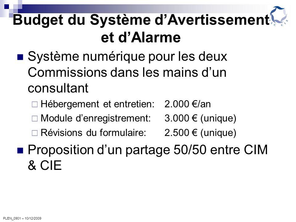 PLEN_0901 – 10/12/2009 Budget du Système dAvertissement et dAlarme Système numérique pour les deux Commissions dans les mains dun consultant Hébergement et entretien:2.000 /an Module denregistrement:3.000 (unique) Révisions du formulaire: 2.500 (unique) Proposition dun partage 50/50 entre CIM & CIE