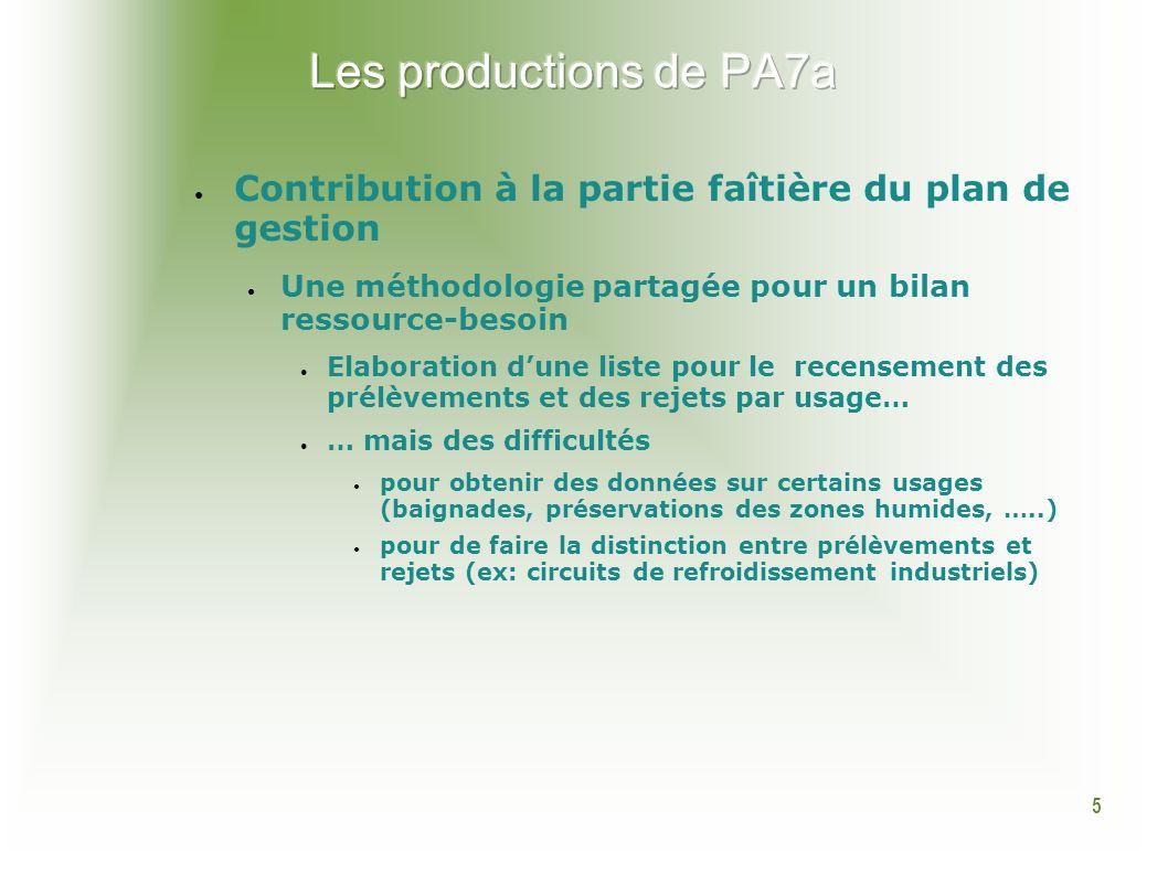 5 Contribution à la partie faîtière du plan de gestion Une méthodologie partagée pour un bilan ressource-besoin Elaboration dune liste pour le recense