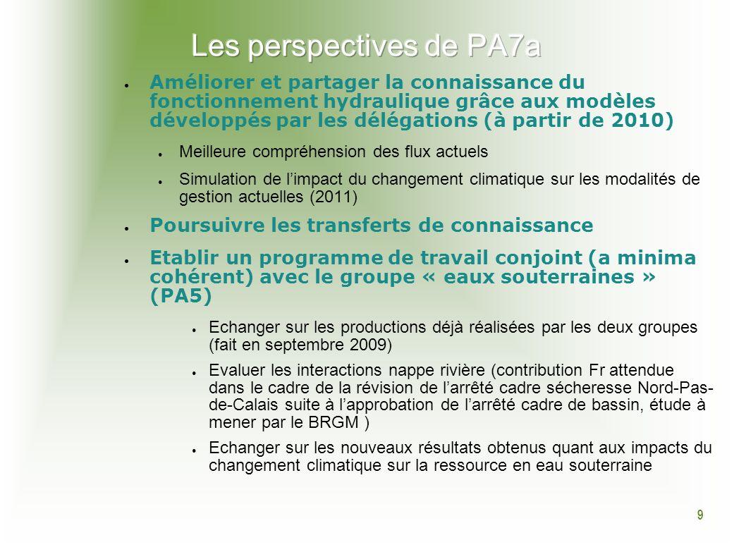 9 Améliorer et partager la connaissance du fonctionnement hydraulique grâce aux modèles développés par les délégations (à partir de 2010) Meilleure co