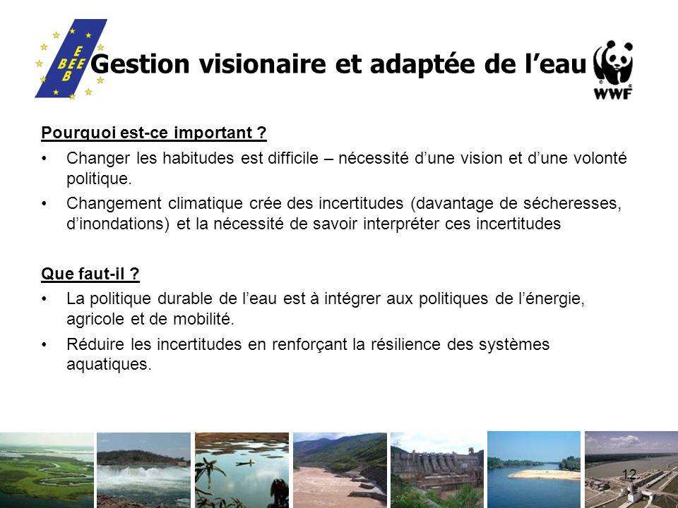 12 Gestion visionaire et adaptée de leau Pourquoi est-ce important ? Changer les habitudes est difficile – nécessité dune vision et dune volonté polit