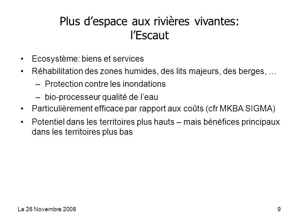 Le 26 Novembre 20089 Ecosystème: biens et services Réhabilitation des zones humides, des lits majeurs, des berges, … –Protection contre les inondation