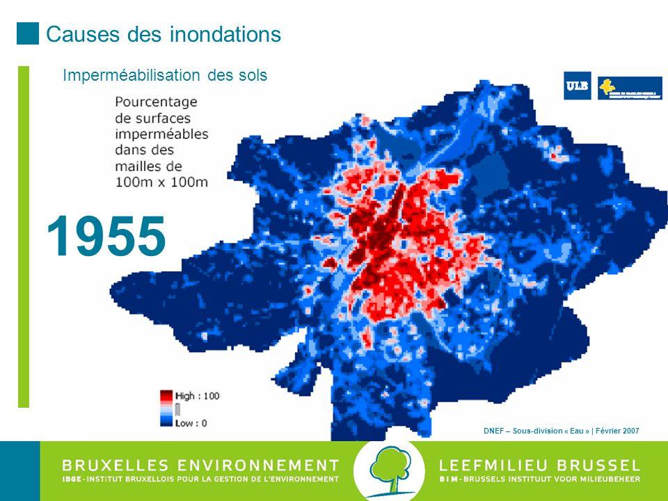 1955 Causes des inondations Imperméabilisation des sols DNEF – Sous-division « Eau » | Février 2007
