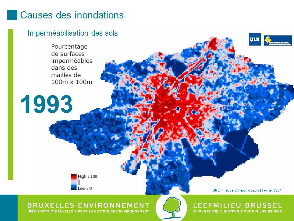 DNEF – Sous-division « Eau » | Février 2007 1993 Imperméabilisation des sols DNEF – Sous-division « Eau » | Février 2007 Causes des inondations