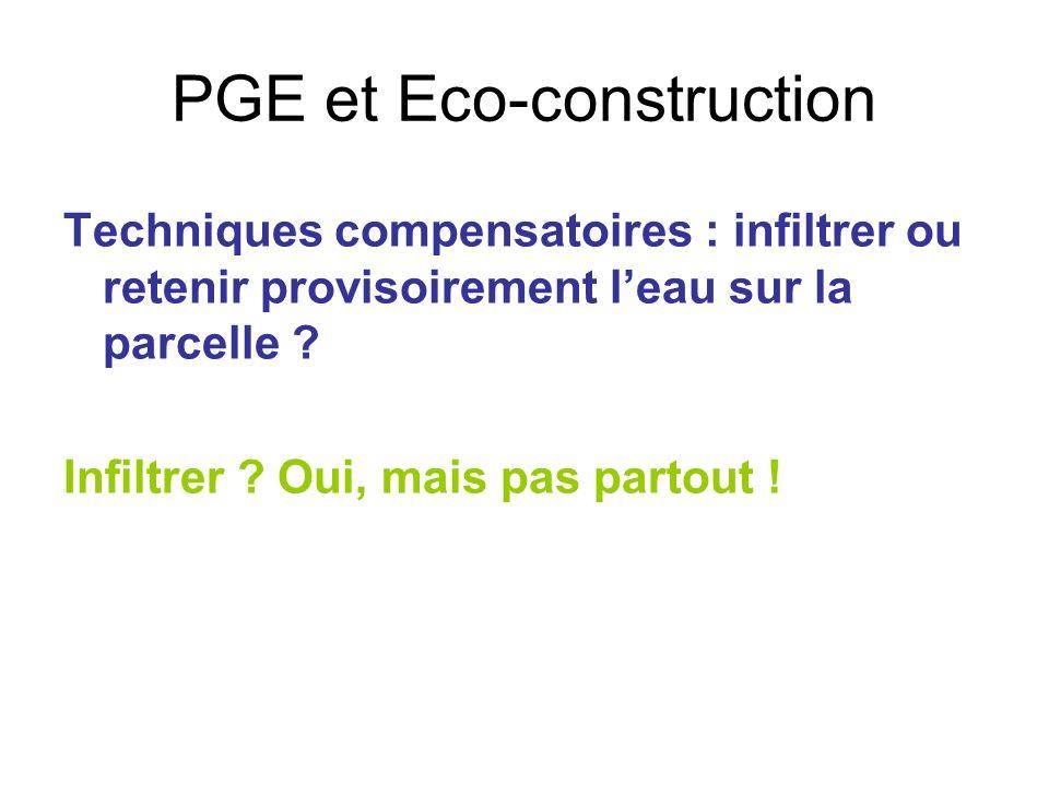 PGE et Eco-construction Techniques compensatoires : infiltrer ou retenir provisoirement leau sur la parcelle ? Infiltrer ? Oui, mais pas partout !
