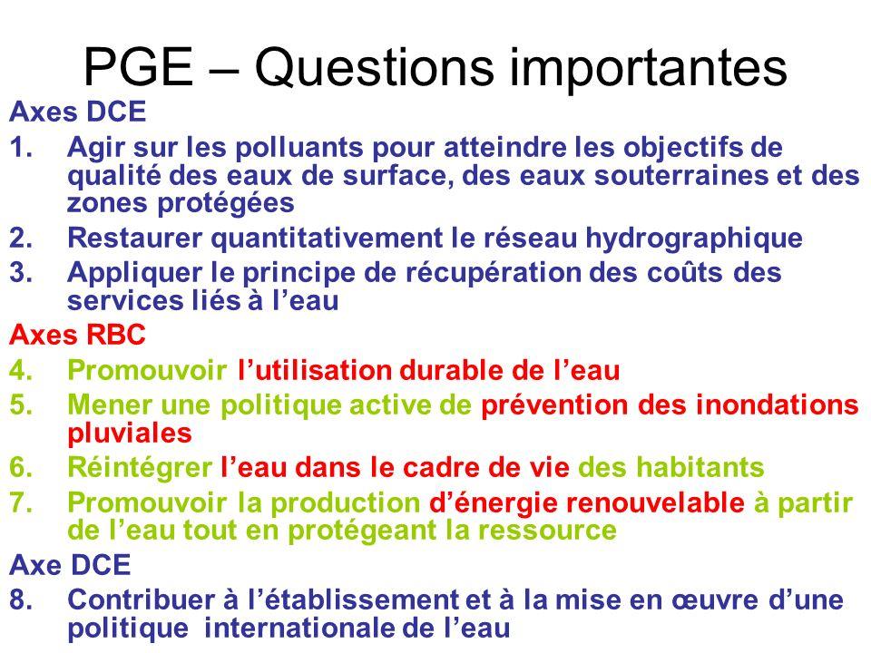 PGE – Questions importantes Axes DCE 1.Agir sur les polluants pour atteindre les objectifs de qualité des eaux de surface, des eaux souterraines et de