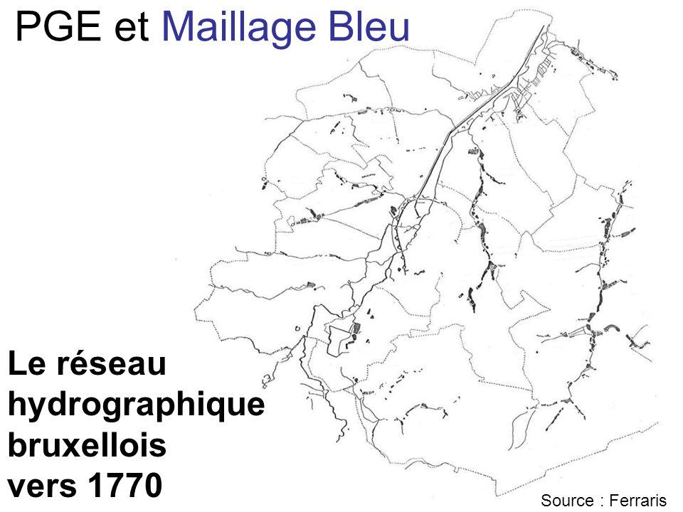 Le réseau hydrographique bruxellois vers 1770 Source : Ferraris PGE et Maillage Bleu
