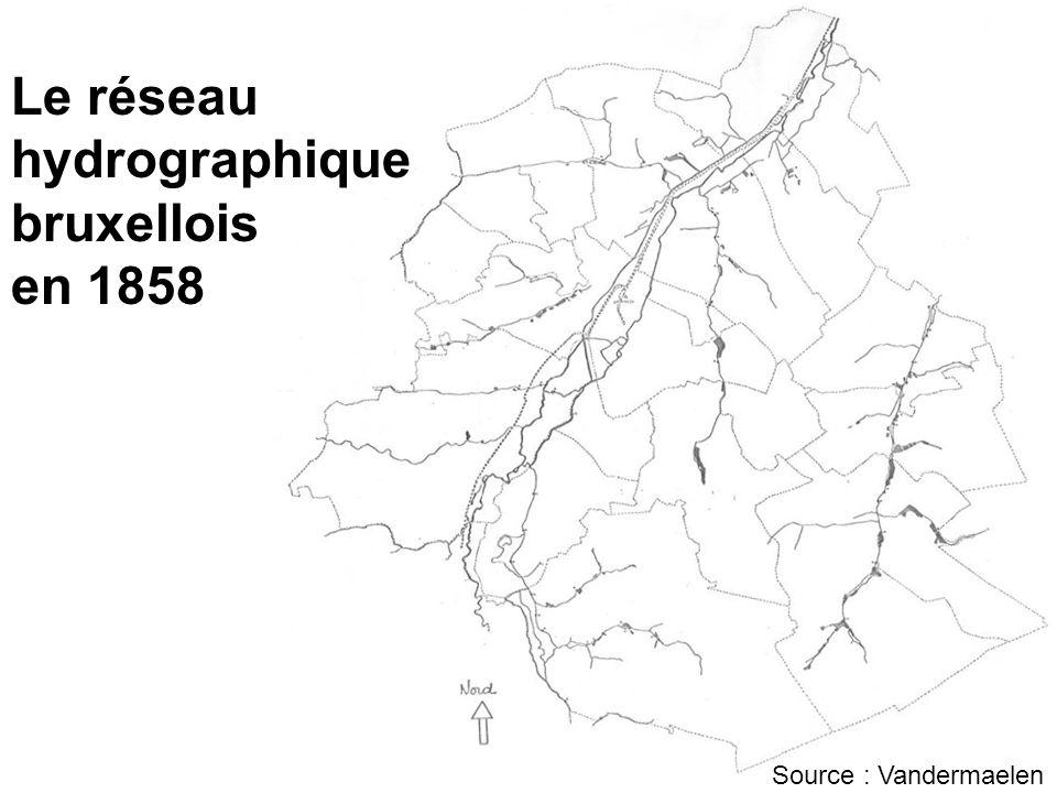 Le réseau hydrographique bruxellois en 1858 Source : Vandermaelen