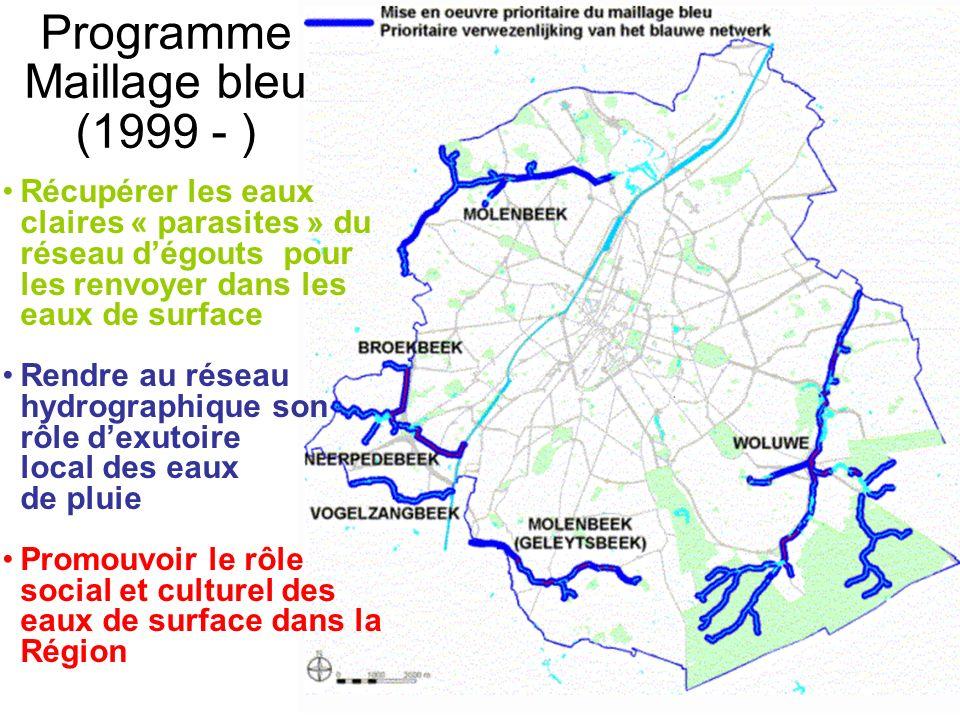 Programme Maillage bleu (1999 - ) Récupérer les eaux claires « parasites » du réseau dégouts pour les renvoyer dans les eaux de surface Rendre au rése