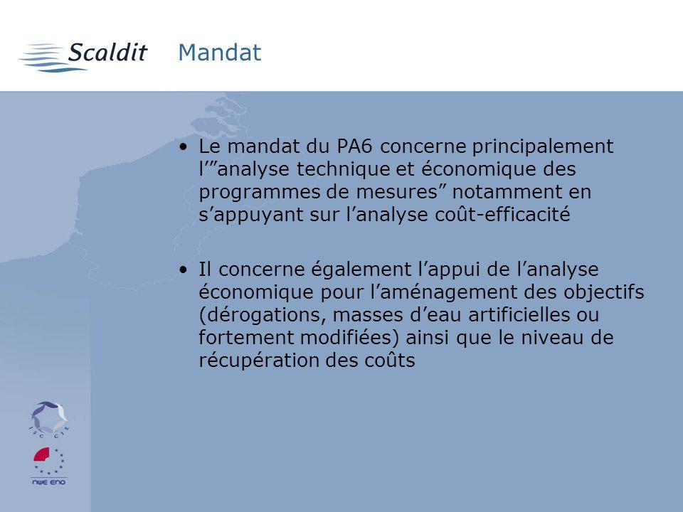 Mandat Le mandat du PA6 concerne principalement lanalyse technique et économique des programmes de mesures notamment en sappuyant sur lanalyse coût-efficacité Il concerne également lappui de lanalyse économique pour laménagement des objectifs (dérogations, masses deau artificielles ou fortement modifiées) ainsi que le niveau de récupération des coûts