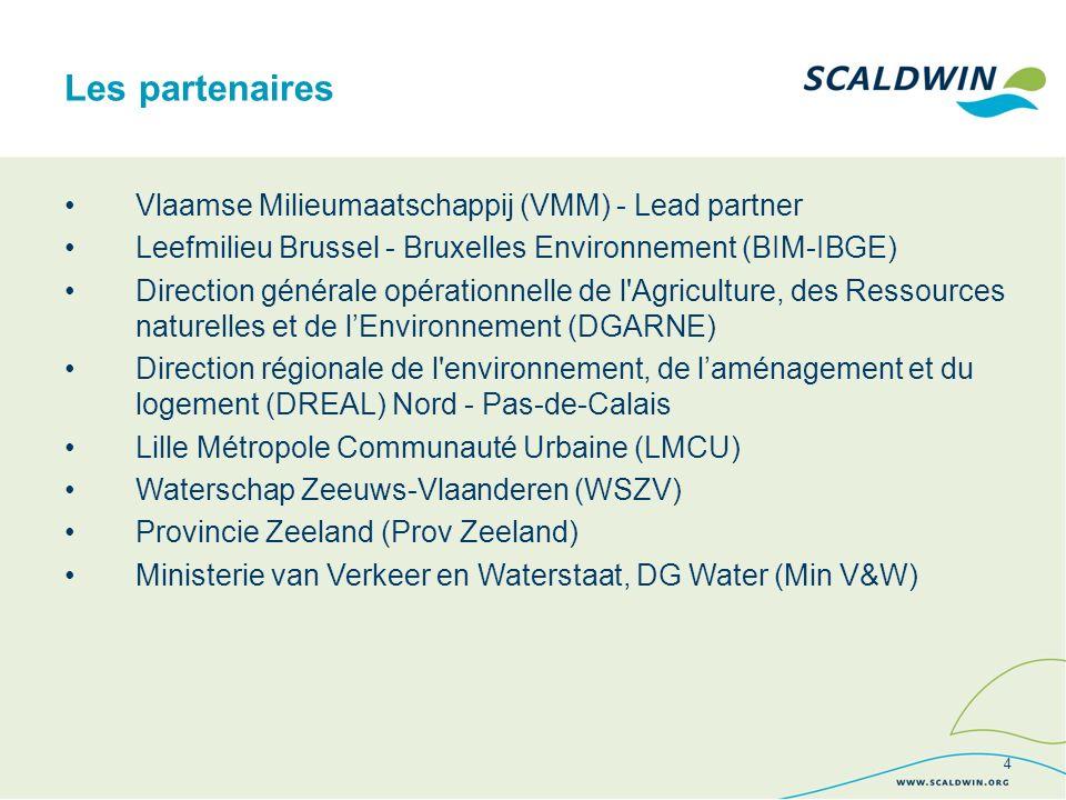 Vlaamse Milieumaatschappij (VMM) - Lead partner Leefmilieu Brussel - Bruxelles Environnement (BIM-IBGE) Direction générale opérationnelle de l Agriculture, des Ressources naturelles et de lEnvironnement (DGARNE) Direction régionale de l environnement, de laménagement et du logement (DREAL) Nord - Pas-de-Calais Lille Métropole Communauté Urbaine (LMCU) Waterschap Zeeuws-Vlaanderen (WSZV) Provincie Zeeland (Prov Zeeland) Ministerie van Verkeer en Waterstaat, DG Water (Min V&W) Les partenaires 4