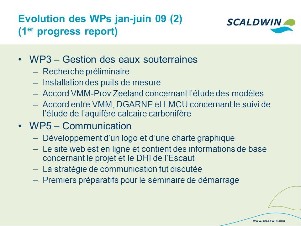 Evolution des WPs jan-juin 09 (2) (1 er progress report) WP3 – Gestion des eaux souterraines –Recherche préliminaire –Installation des puits de mesure –Accord VMM-Prov Zeeland concernant létude des modèles –Accord entre VMM, DGARNE et LMCU concernant le suivi de létude de laquifère calcaire carbonifère WP5 – Communication –Développement dun logo et dune charte graphique –Le site web est en ligne et contient des informations de base concernant le projet et le DHI de lEscaut –La stratégie de communication fut discutée –Premiers préparatifs pour le séminaire de démarrage