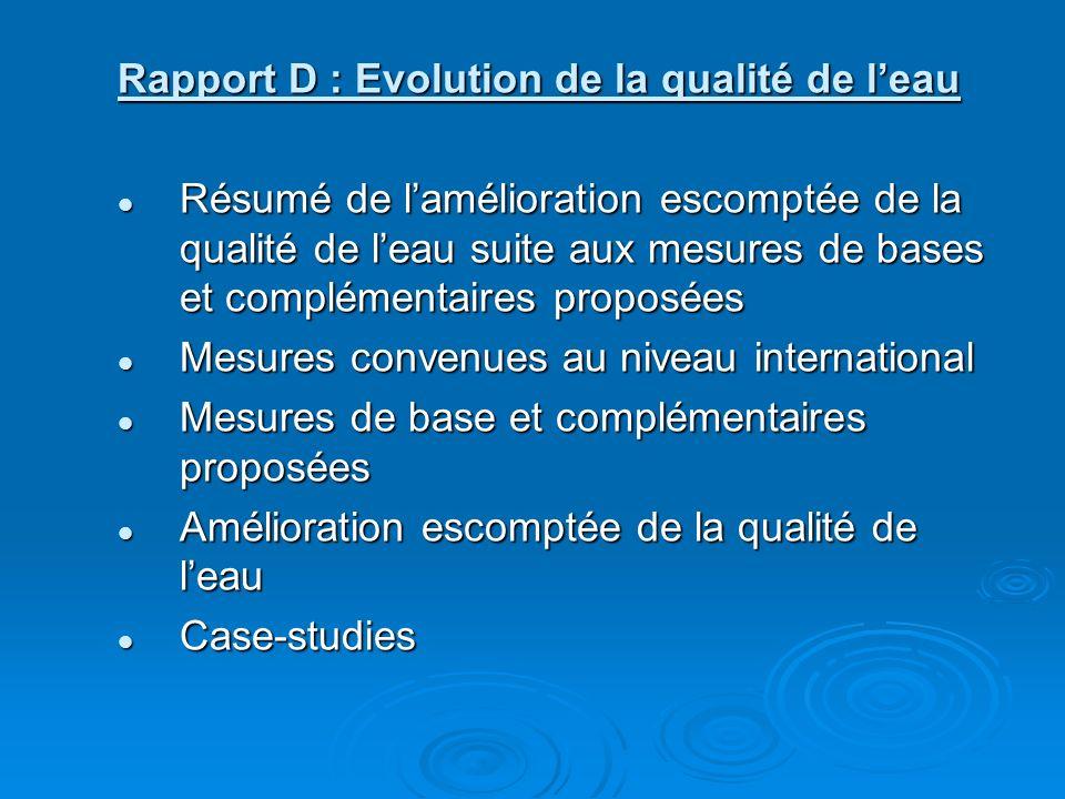Rapport D : Evolution de la qualité de leau Résumé de lamélioration escomptée de la qualité de leau suite aux mesures de bases et complémentaires proposées Résumé de lamélioration escomptée de la qualité de leau suite aux mesures de bases et complémentaires proposées Mesures convenues au niveau international Mesures convenues au niveau international Mesures de base et complémentaires proposées Mesures de base et complémentaires proposées Amélioration escomptée de la qualité de leau Amélioration escomptée de la qualité de leau Case-studies Case-studies