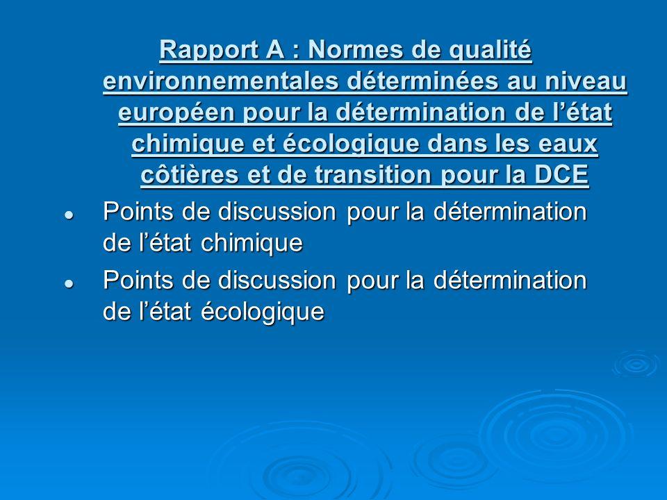 Rapport A : Normes de qualité environnementales déterminées au niveau européen pour la détermination de létat chimique et écologique dans les eaux côtières et de transition pour la DCE Points de discussion pour la détermination de létat chimique Points de discussion pour la détermination de létat chimique Points de discussion pour la détermination de létat écologique Points de discussion pour la détermination de létat écologique