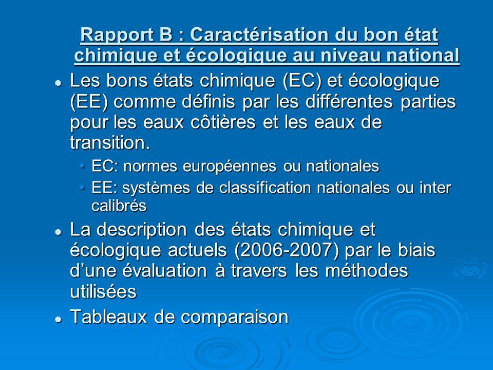 Rapport B : Caractérisation du bon état chimique et écologique au niveau national Les bons états chimique (EC) et écologique (EE) comme définis par les différentes parties pour les eaux côtières et les eaux de transition.