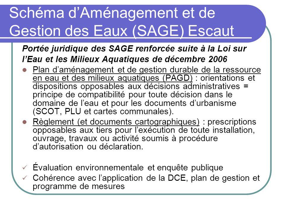 Schéma dAménagement et de Gestion des Eaux (SAGE) Escaut Portée juridique des SAGE renforcée suite à la Loi sur lEau et les Milieux Aquatiques de déce