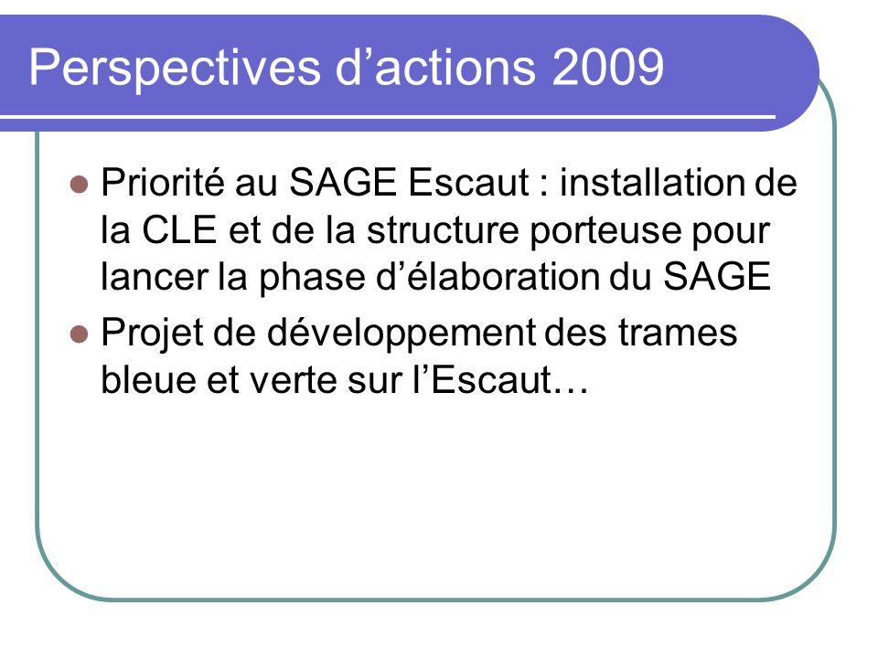 Perspectives dactions 2009 Priorité au SAGE Escaut : installation de la CLE et de la structure porteuse pour lancer la phase délaboration du SAGE Proj