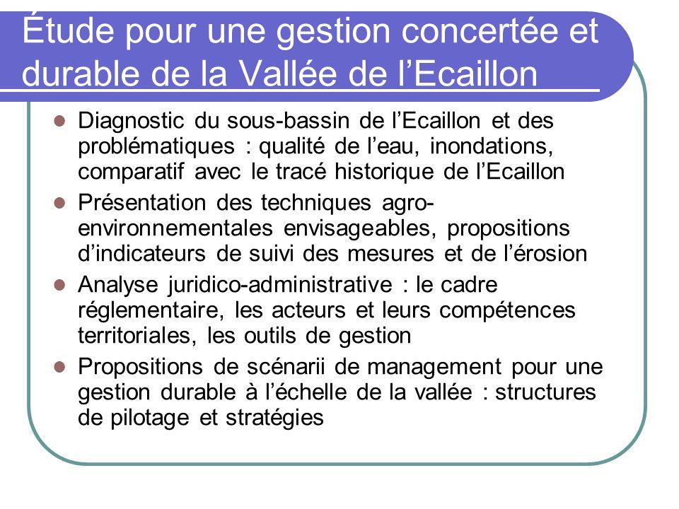 Diagnostic du sous-bassin de lEcaillon et des problématiques : qualité de leau, inondations, comparatif avec le tracé historique de lEcaillon Présenta