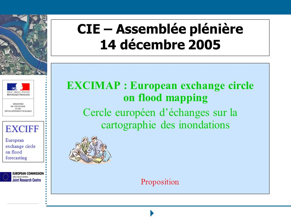 EXCIFF European exchange circle on flood forecasting CIE – Assemblée plénière 14 décembre 2005 EXCIMAP : European exchange circle on flood mapping Cer