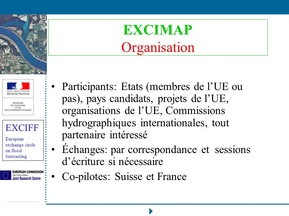 EXCIFF European exchange circle on flood forecasting EXCIMAP Organisation Participants: Etats (membres de lUE ou pas), pays candidats, projets de lUE,